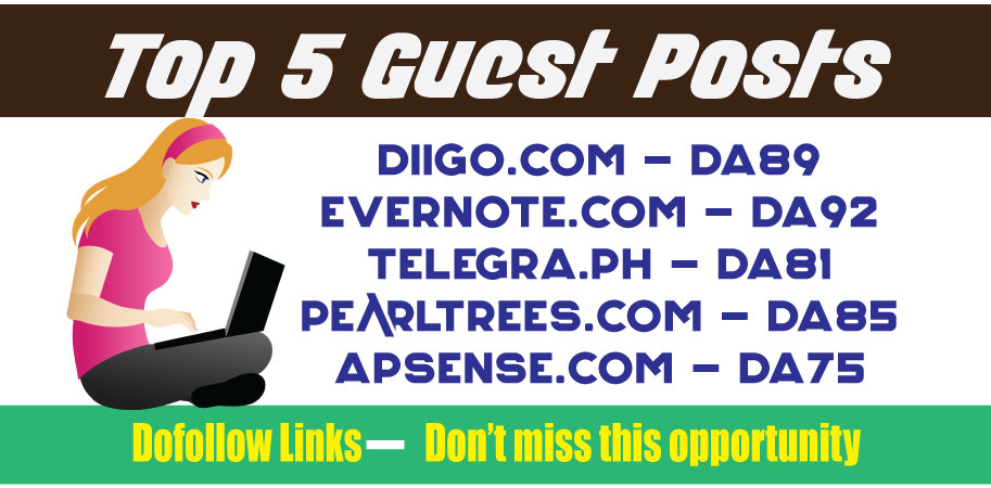 Publish TOP 5 Guest Posts DA80+ DoFoIIow Links