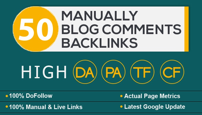 I will 50 blog comments backlinks high seo service rank on google