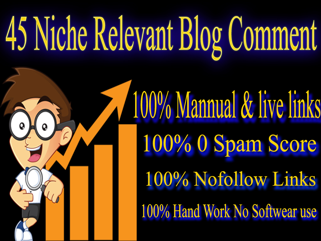 I Will Do 45 No-follow Niche Blog comments High Quality Back links