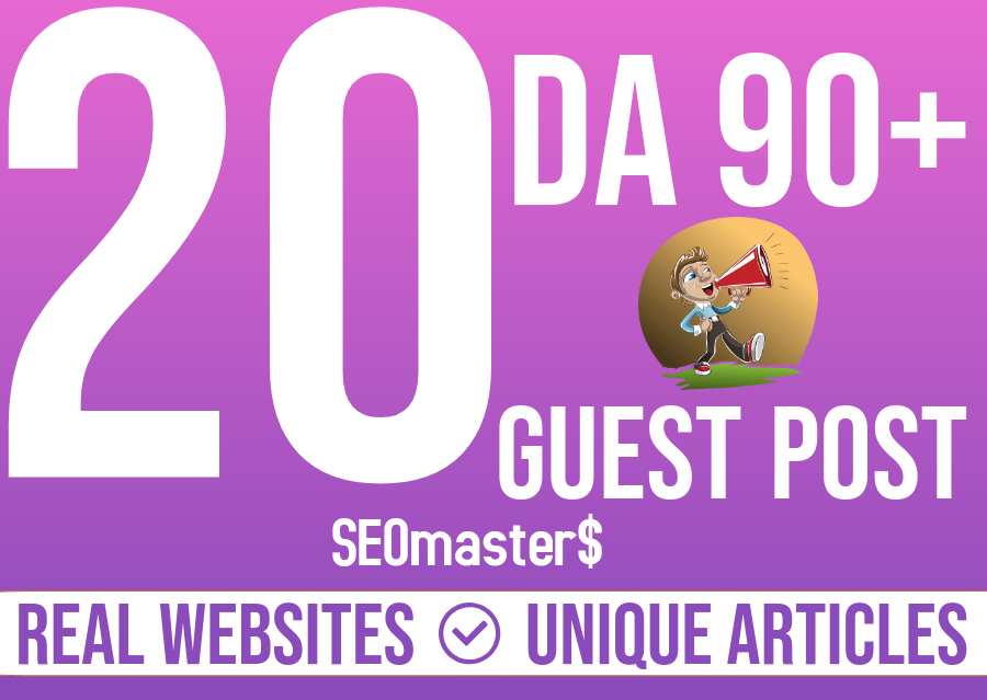 Write And Publish Guest Post On 20 Websites to rank on Google's 1st page.