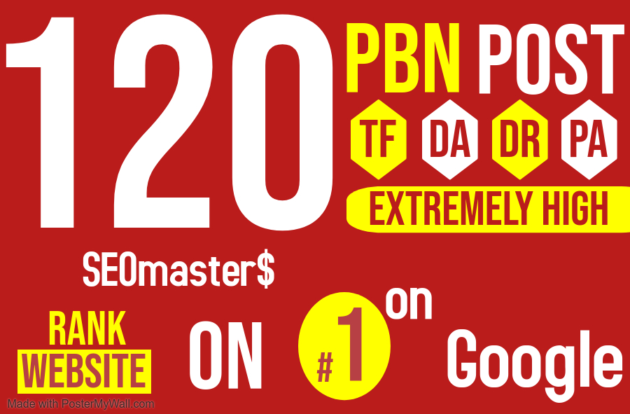 SEO services - Get 120 Permanent PBN DR 50 high quality Homepage Do-follow Backlinks