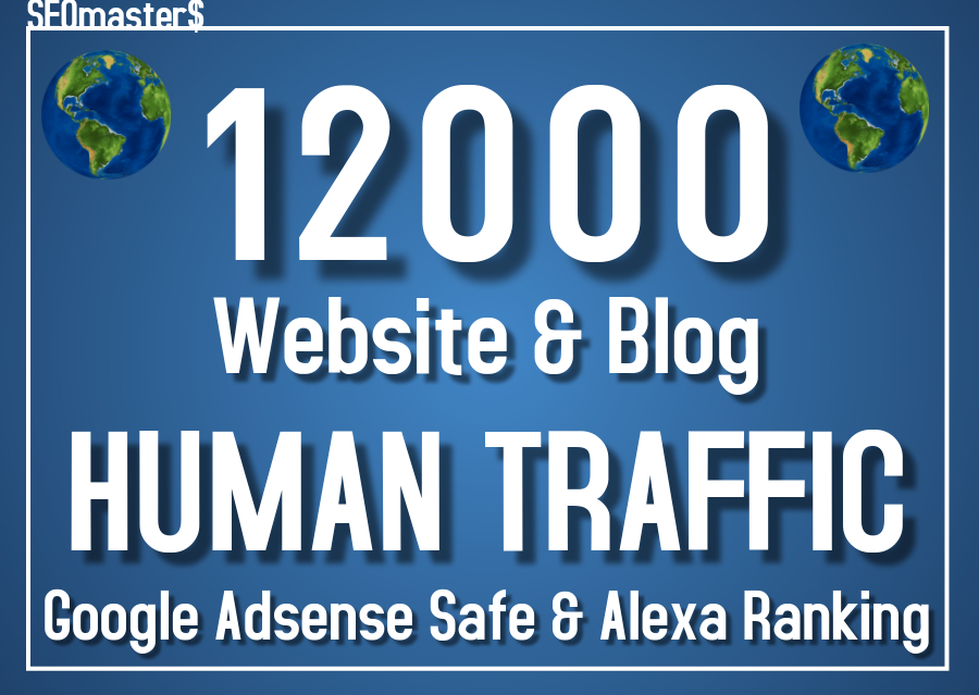 12000 Real Human traffic to your web or blog site. - Get Adsense safe with Good Alexa ranking