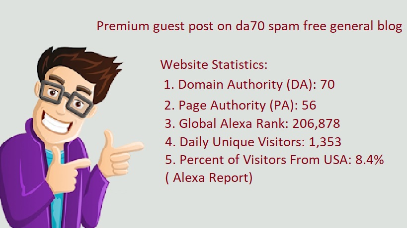 I will Premium guest post on da70 spam free general blog