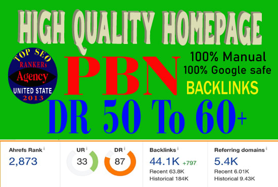 Do 50 high quality homepage PBN backlinks