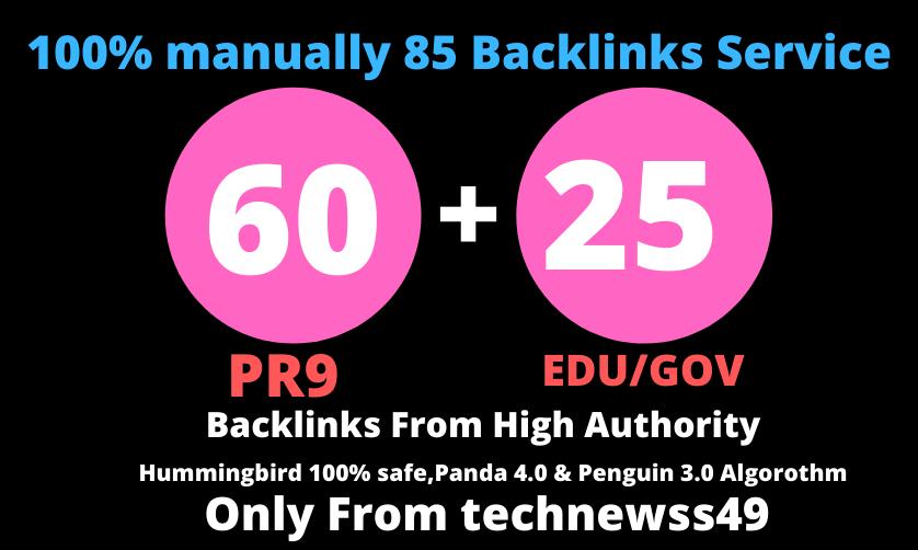 Create manually 60 pr9+25 edu-gov high authority pr SEO backlink-fire ranking google