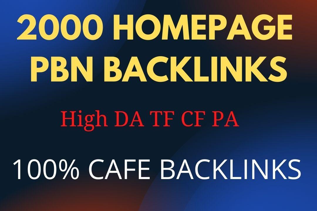 Build 2000 High PA DA TF CF Homepage PBN Backlinks Google Rank