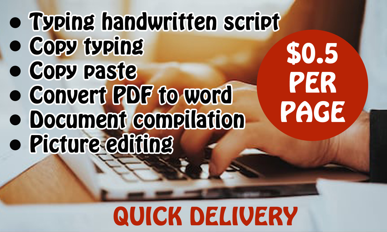 Fast and accurate typing service, create editable PDF, convert PDF or picture text to word