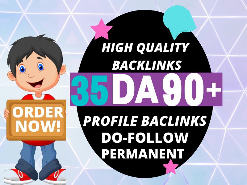 Create high 35 profile authority backlink manual SEO service