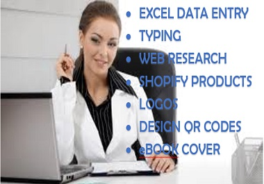 I will help design logos for your business,  excel data works and calculations,  research and shopify