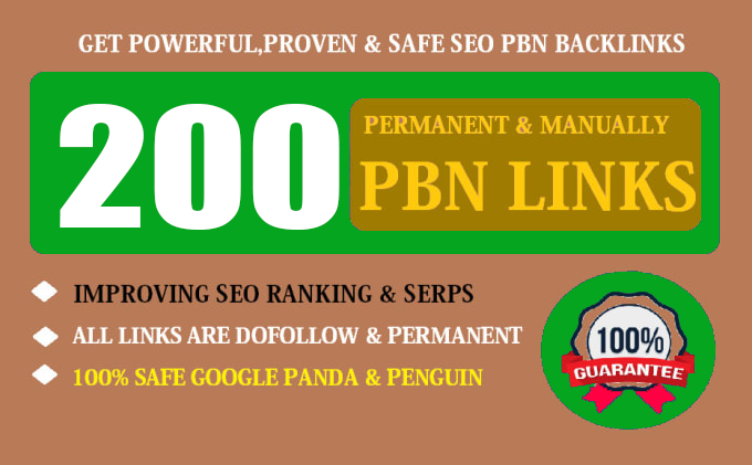 200 Permanent High Quality DA 50+ Homepage Dofollow PBN Backlinks