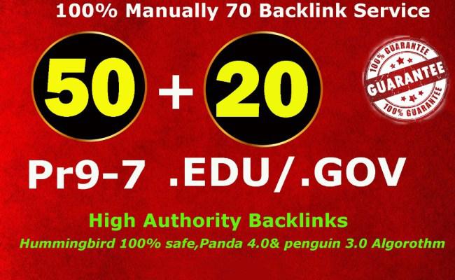 manually 50 PR9 + 20 EDU/GOV Safe SEO High Pr Backlinks