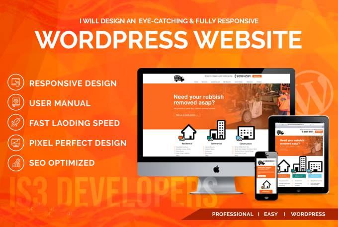 Create fully responsive design wordpress website ,Custom, clone/copy, redesign