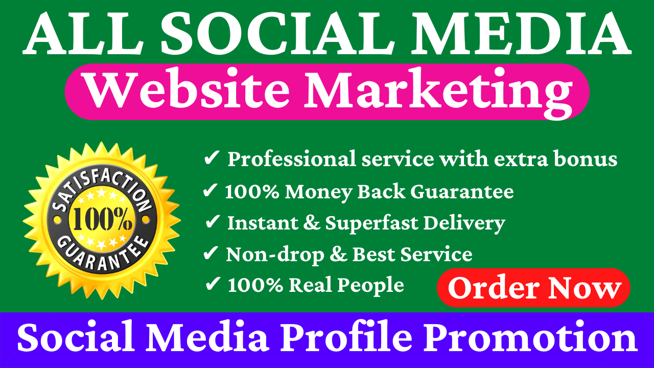 All Social Media Profile Promotion YouTube Twitter TikTok And Many More Website Marketing