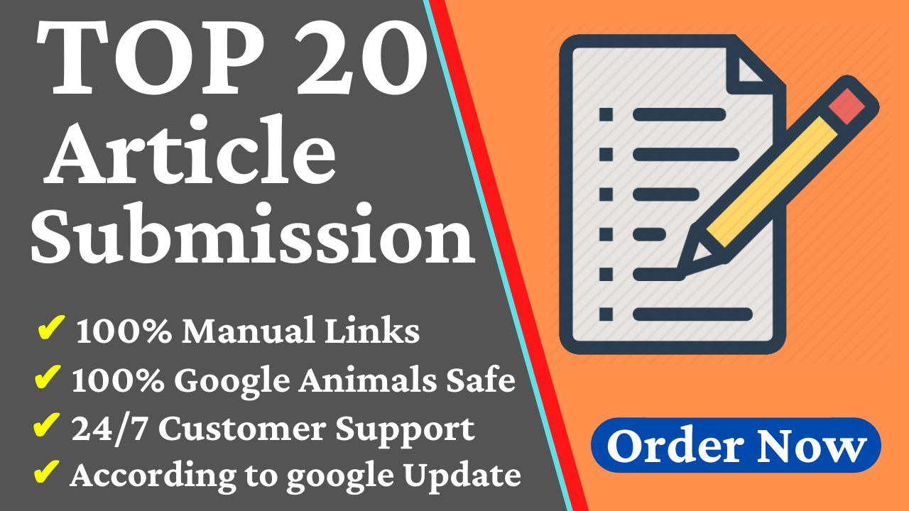 Provide 20 Dofollow Article Submission SEO Backlinks With High DA Website