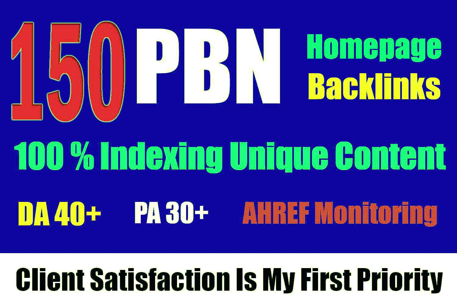 I will Get 150 Homepage Dofollow PBN Backlinks DA 40 plus with High Domain Authority