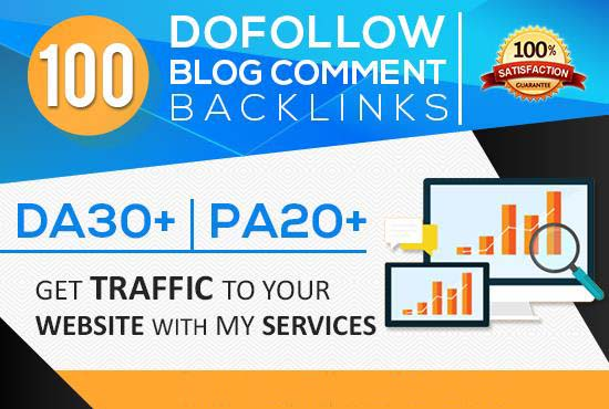 I will create 100 dofollow Blog comment backlinks DA30+ PA20+ For your Google Ranking