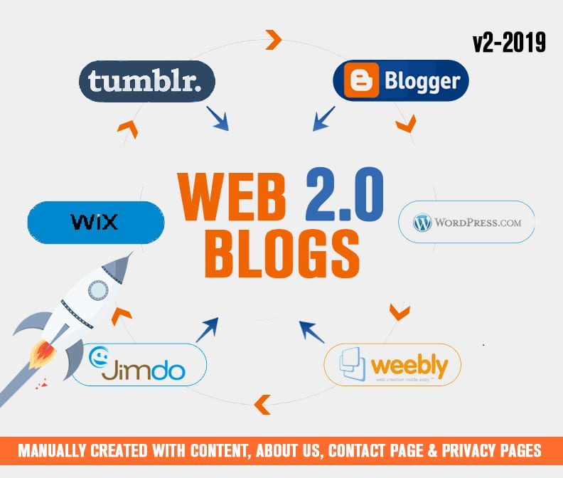 Get 30 High DA PA Dofollow Web2.0 Blog Backlinks Manually Submission
