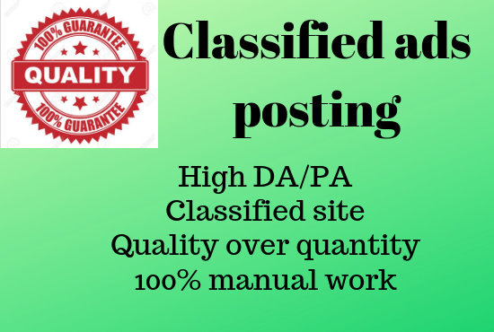 i will do 50 classified ads posting high DA/PA classified site in USA