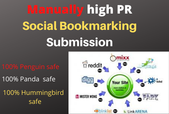 i will do manually high PR Social Bookmarking Submission 100% safe