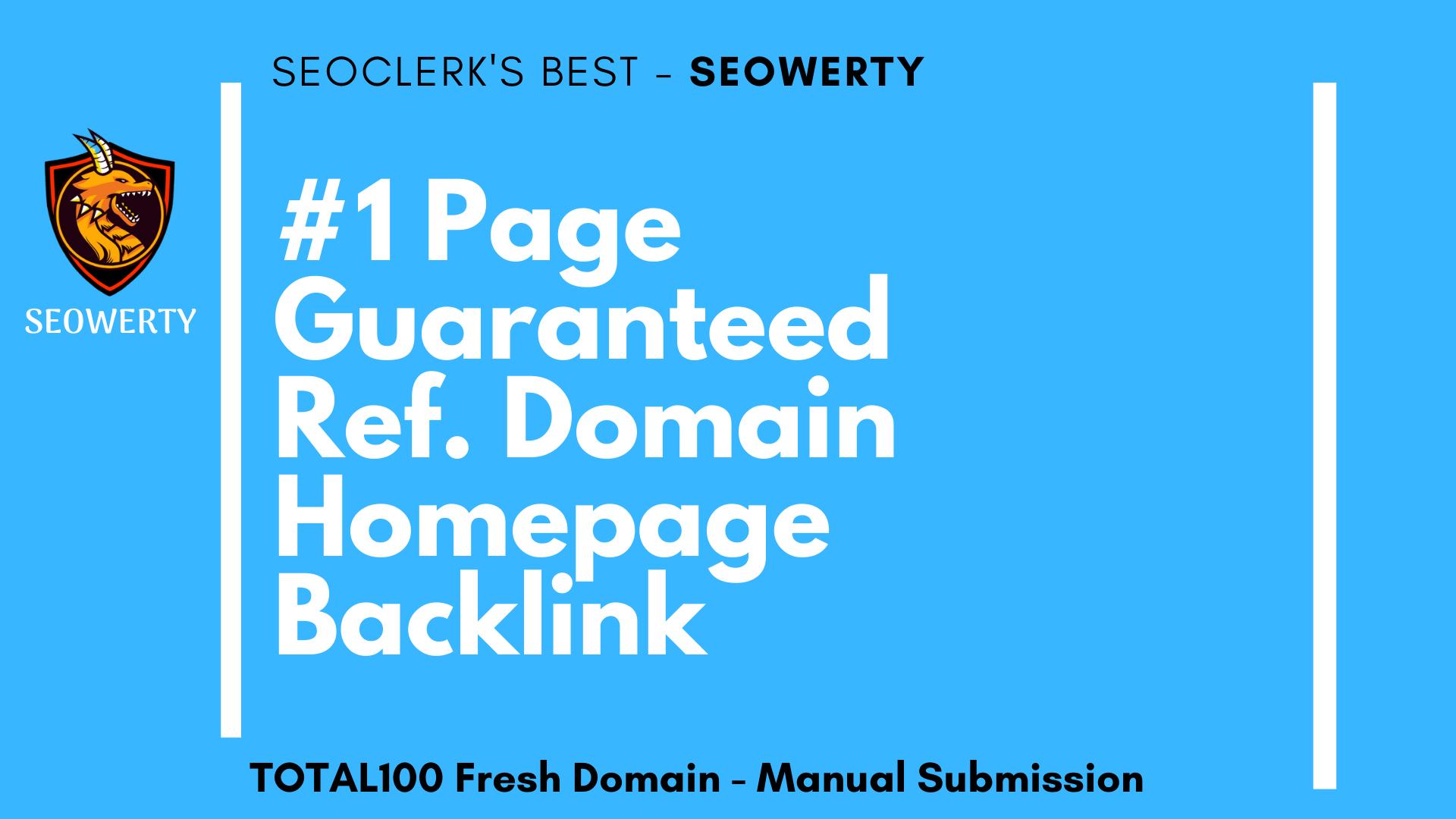 1 Page Guaranteed Ref. Domain Homepage PBN Backlink