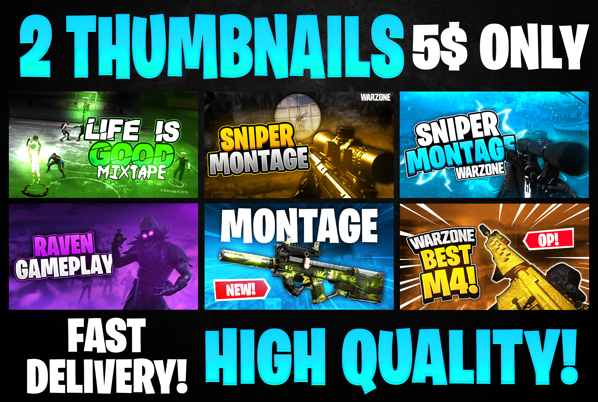 I will design attractive and eye catchy youtube gaming thumbnails