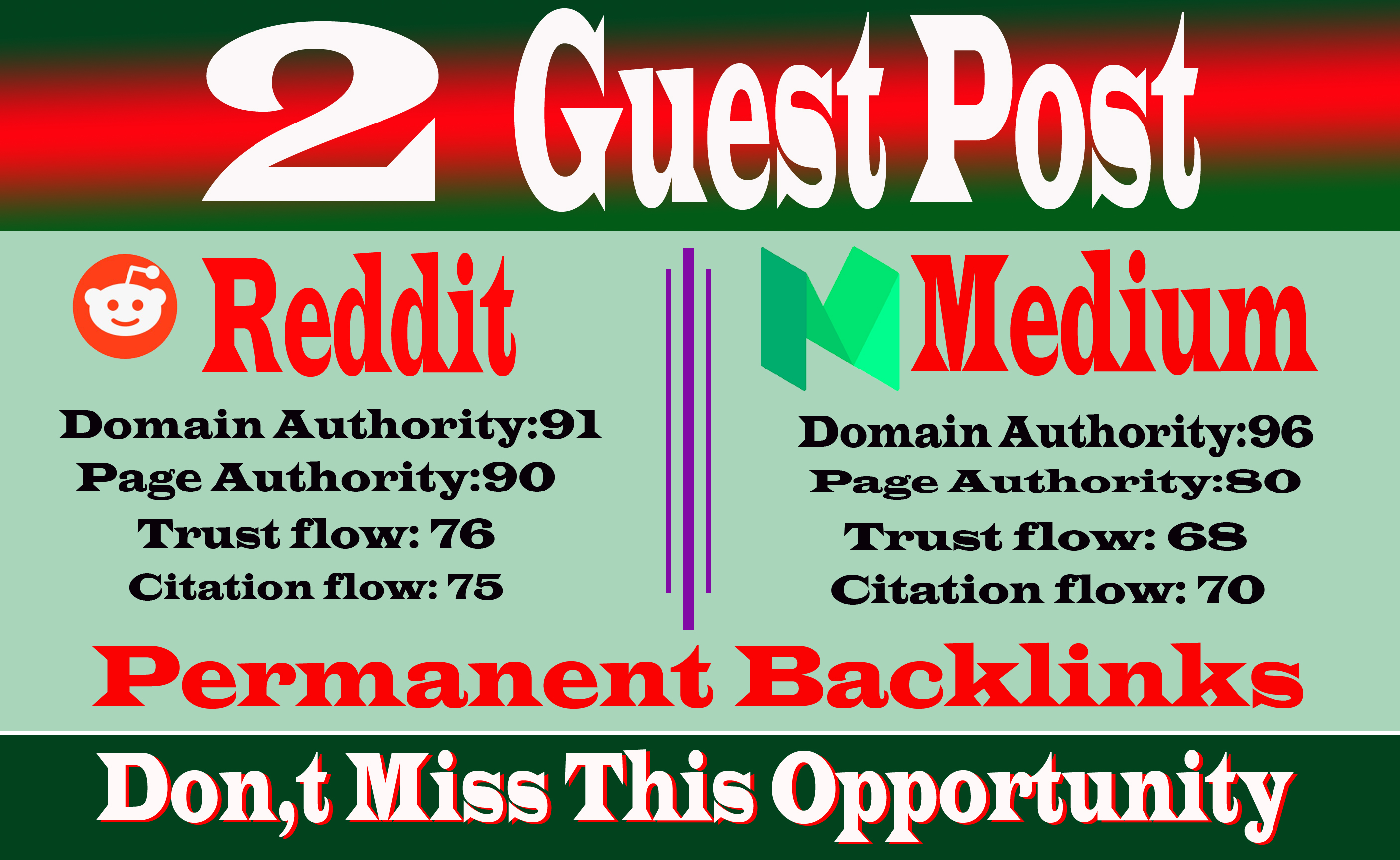 write and publish 2 Guest Posts on High DA PA Sites With Reddit,  Medium