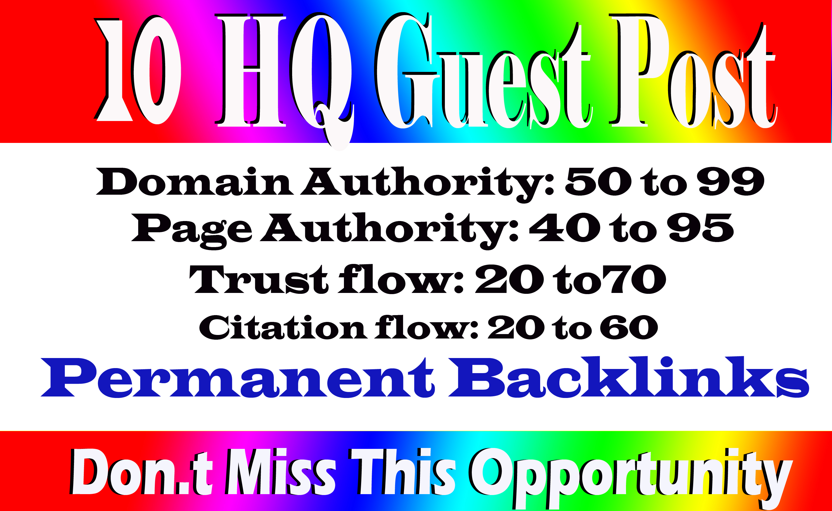 Write And Publish 10 Guest Post On High DA 70+ Sites with permanent strong backlink
