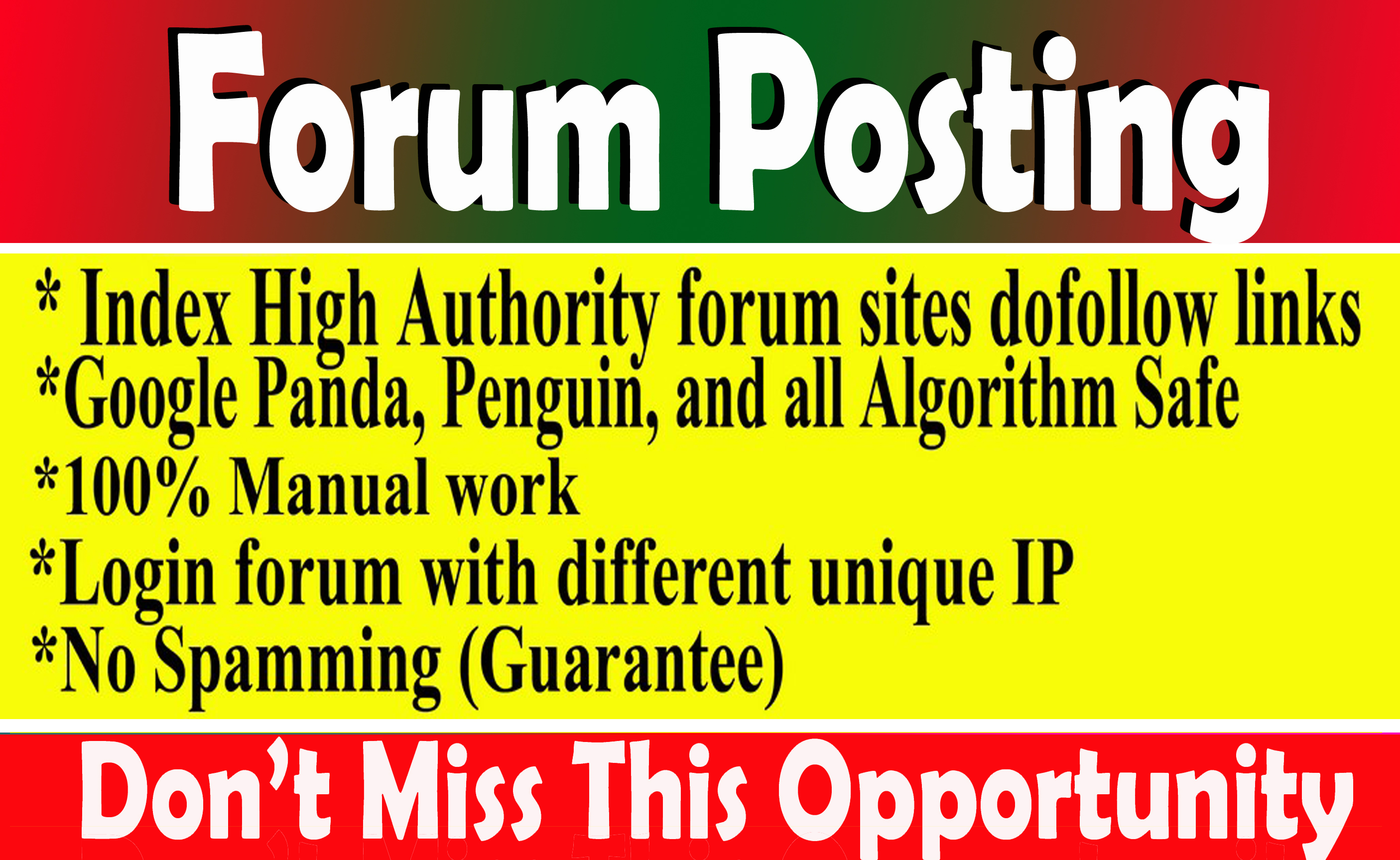 I will provide 40 Dof0llow Forum Backlinks and posts on DA30+High Quality Sites