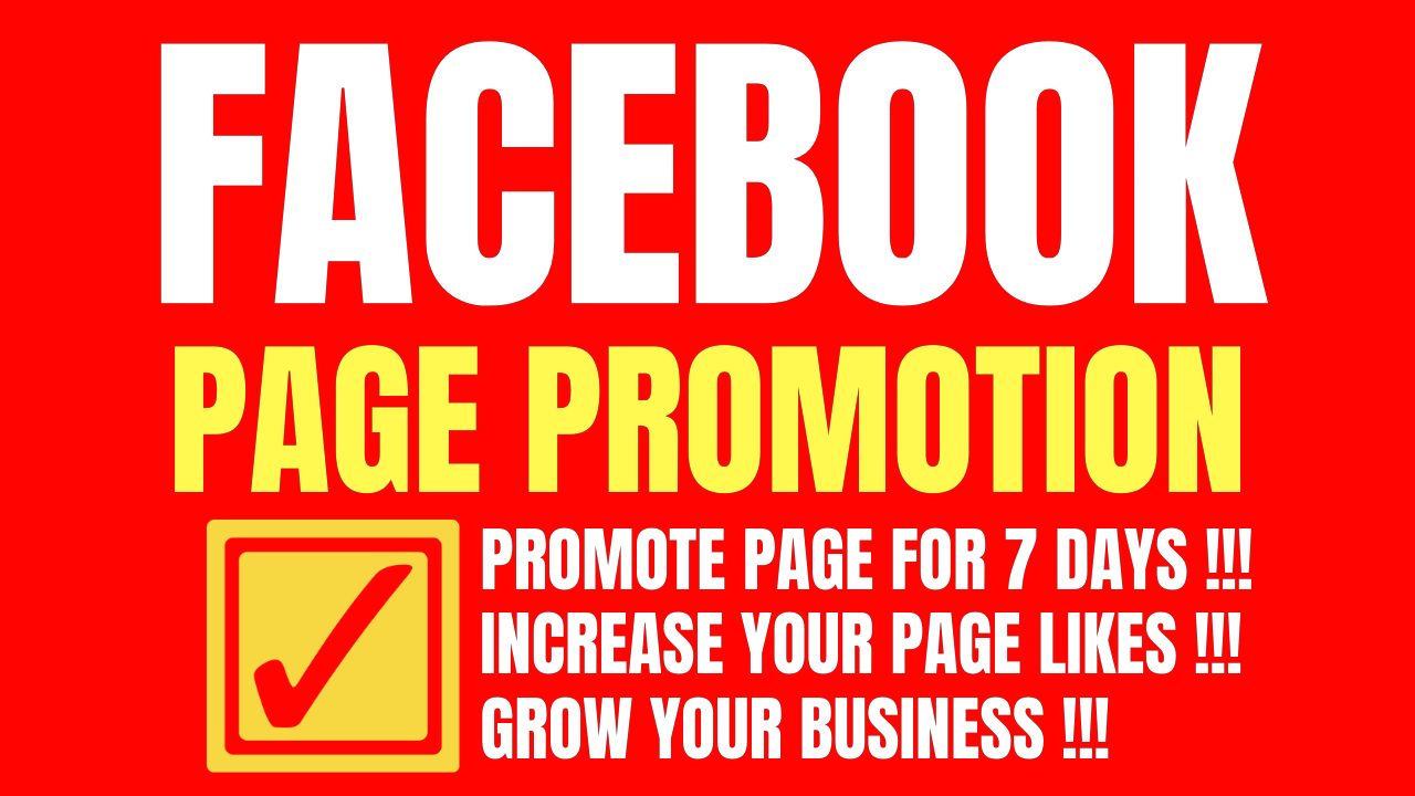 I will do organic promotion of your facebook page for 7 days