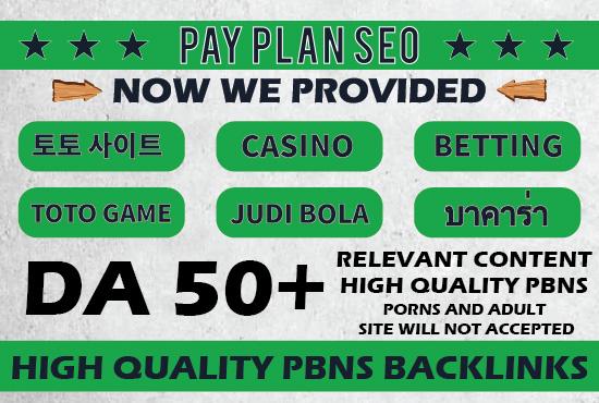 100 Permanent Dofollow High DA 50+ Casino Gambling,  TOTO Games,  Judi Bola Niche PBNs Links