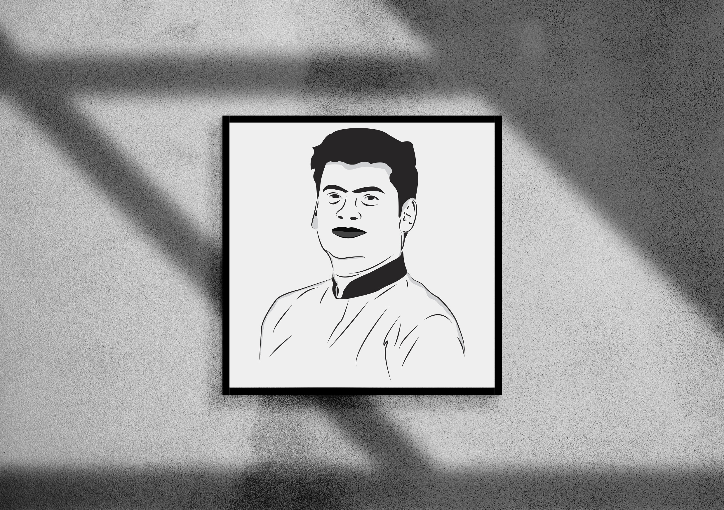 I will draw your portrait as a black and white cartoon