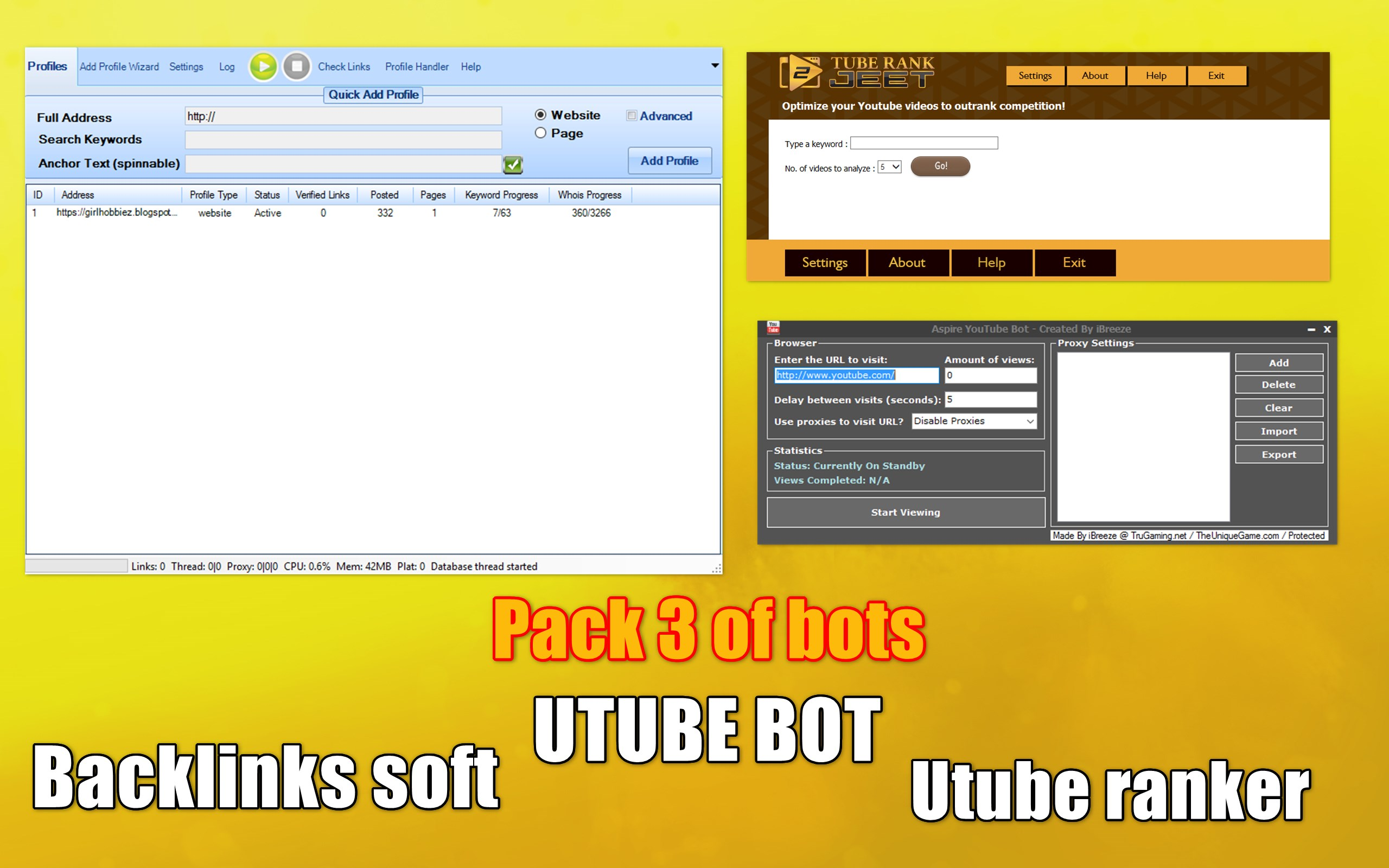 Pack of 3 software For Seo promotion site backlinks,  YouTube bot