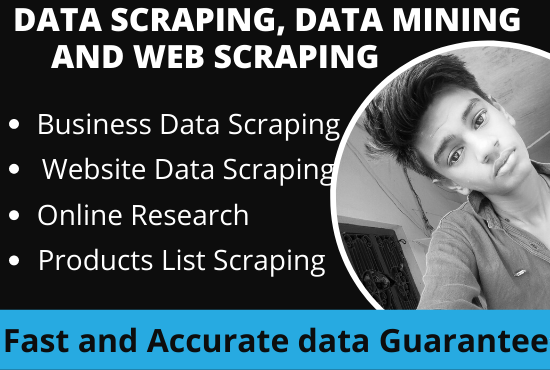I will do web scraping,  data mining and data scraping