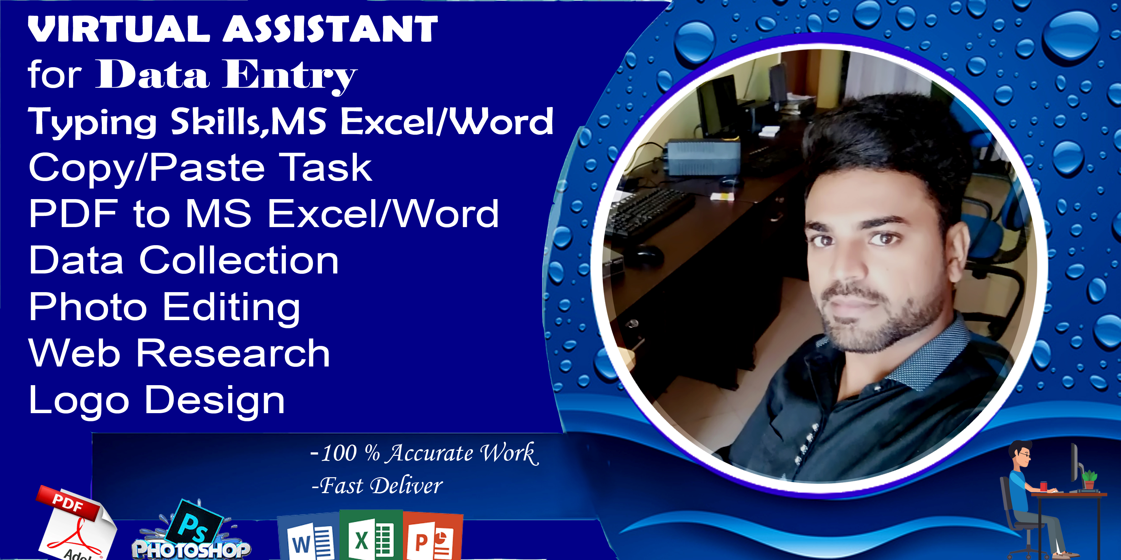 I will do very good work in design,  data entry and copy paste in a very short time.