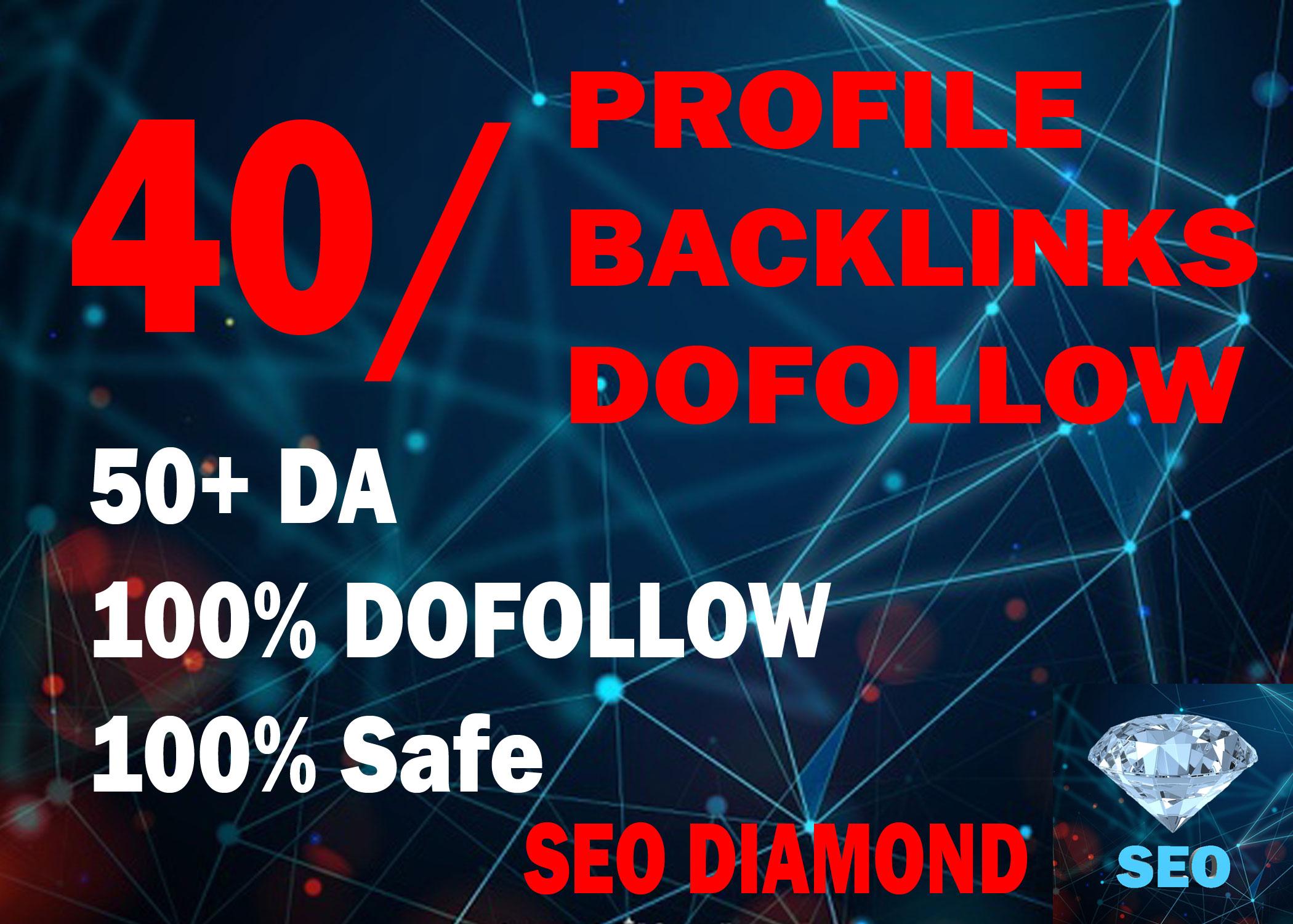 I Will DO 40 High DA, PA Profile Backlinks Dofollow