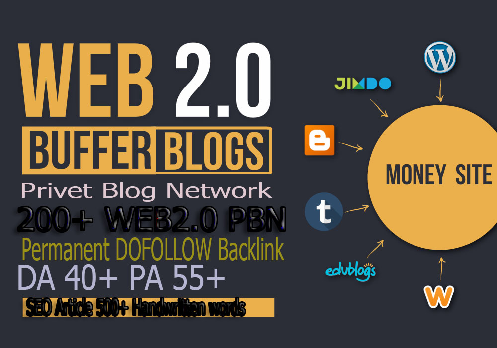 Build Extream 200+ web2.0 pbn backlink with high DA/PA on your hompage with unique website