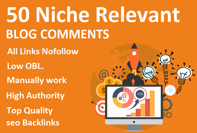50 manually niche relevant blog comments seo Backlinks