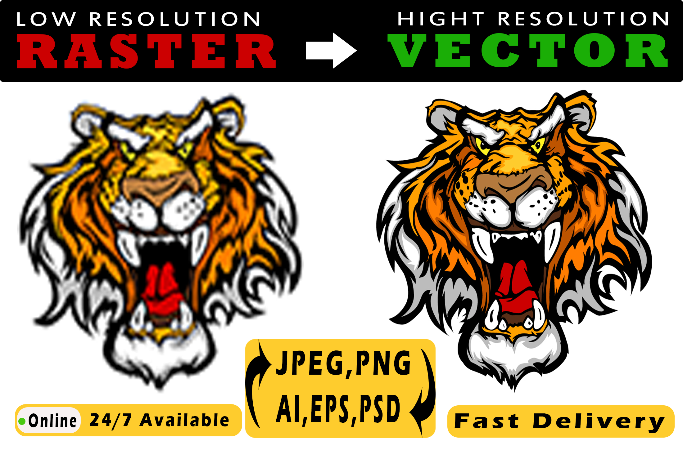 I will convert any file raster to vector ai,psd,png high quality in a short time