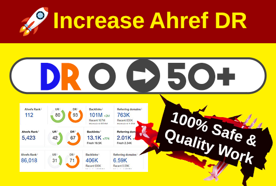 I will increase ahrefs DR 50 domain rating with authority backlinks