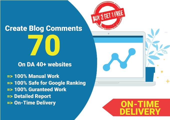 I will create 70 blog Comments DA 40+ websites