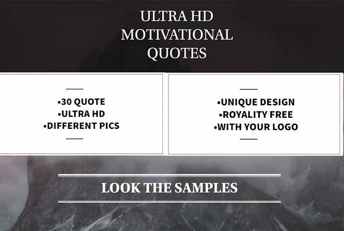 I will make 30 motivational HD quotes with your logo or username