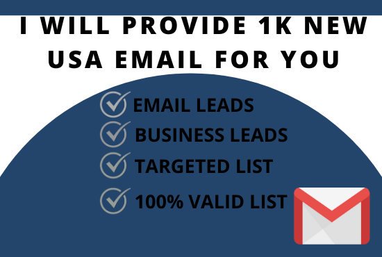 I will provide 1k new USA email for you