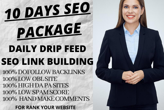 i will submit 10 days daily 50 dofollow blog comments backlinks in high DA sites with daily uptades