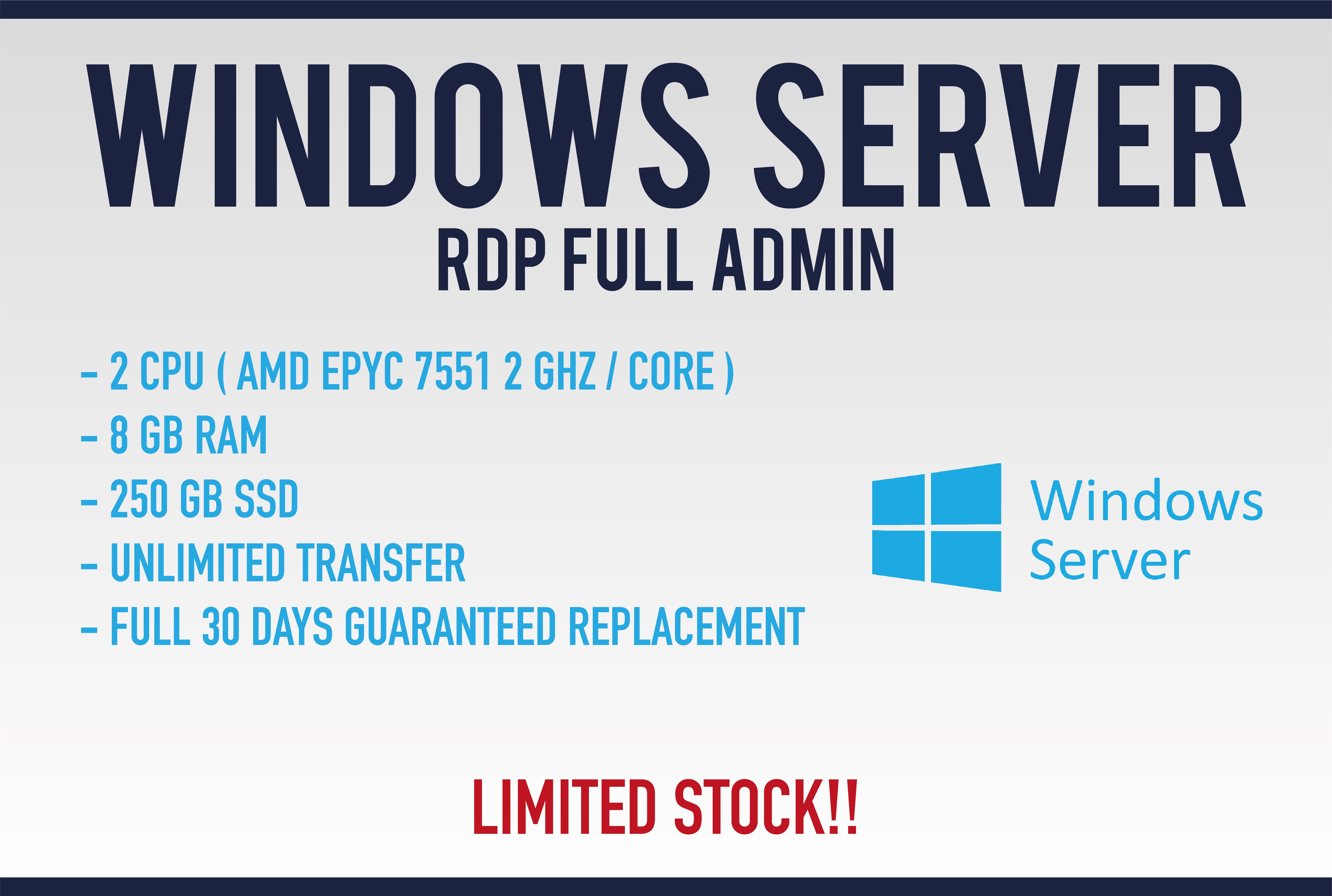 Dedicated Windows Server RDP Vps 8 gb ram 250 gb ssd