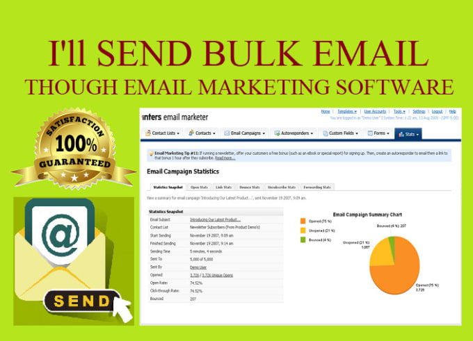 I will send bulk email marketing with text,  images,  html templates