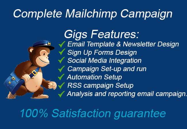 I will do mailchimp,  Aweber,  getresponse, Constant Contact,  email campaign