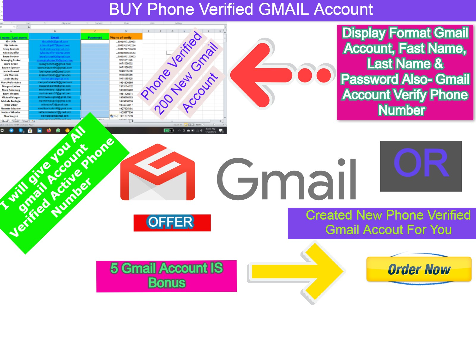 Created or give you 200 Phone Verified mail Account is Ready