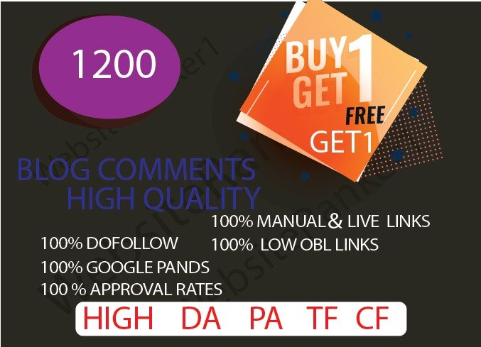 i provide 1200 Blog comments High Quality Do-follow Backlinks on your site