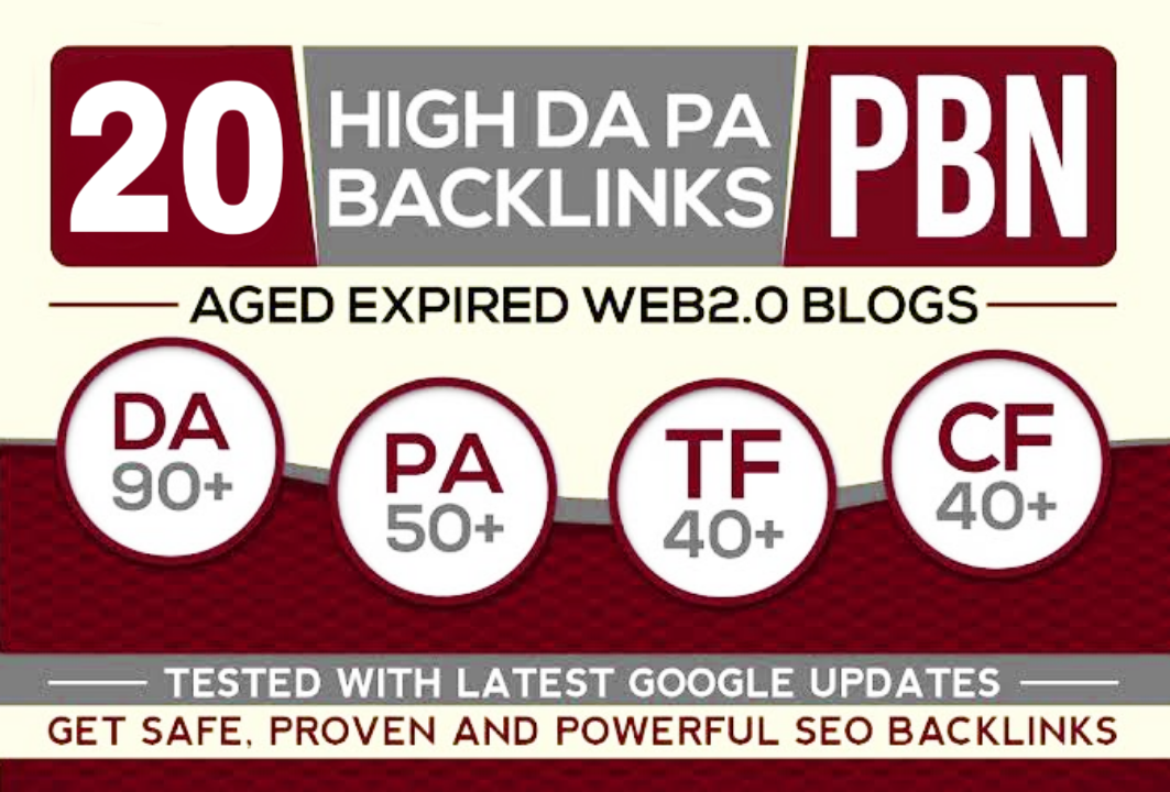 Create 20 PBN High 20 Plus DA PA CF TF Moz Authority Expired space Backlinks