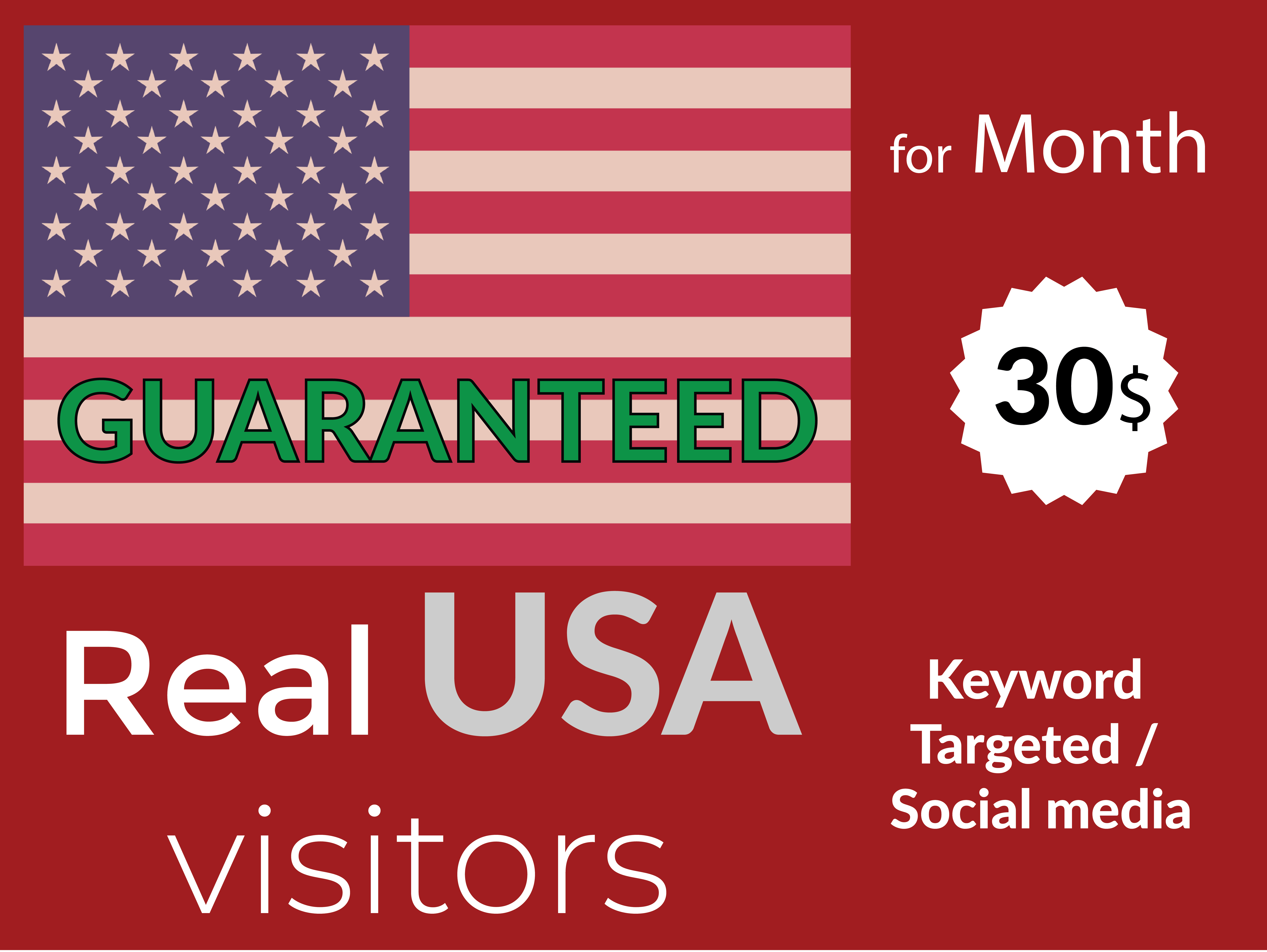 I will bring keyword targeted USA visitors for 1 month